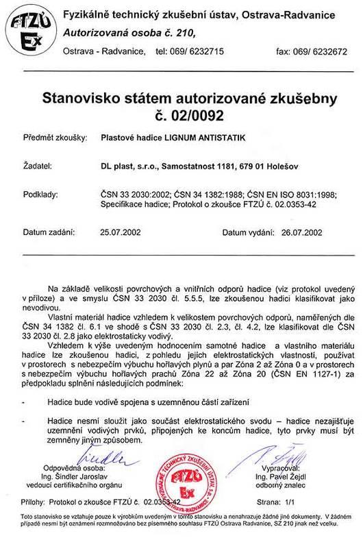 Certifikát FTZÚ
